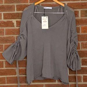 NWT ZARA adjustable sleeve oversized gray sweater